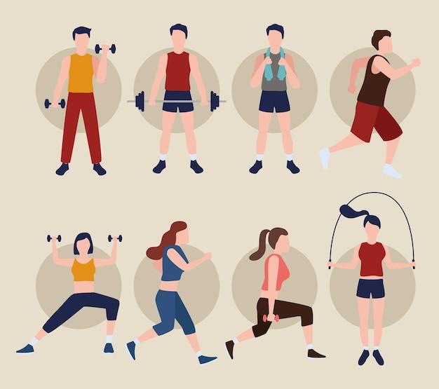 Acht fitness-personen