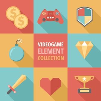 Acht flache elemente für videospiele
