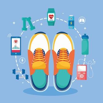 Acht gesundheits-app-symbole