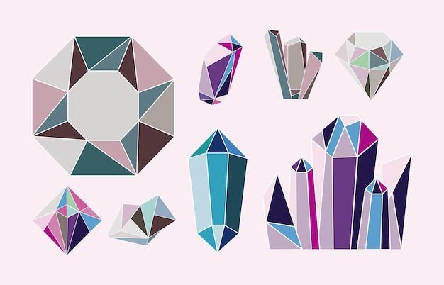 Acht kristalledelsteine luxusikonen