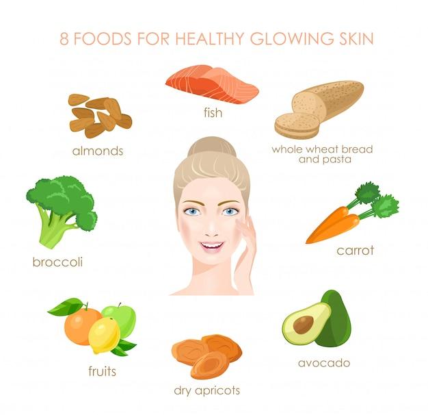 Acht lebensmittel für eine gesunde haut. frische vitaminquellen.