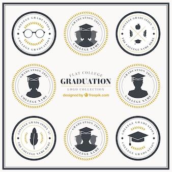 Acht logos für die graduierung