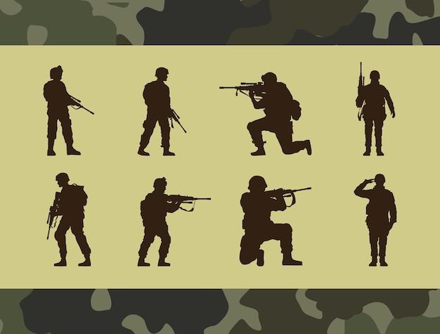 Acht militärsoldaten silhouetten