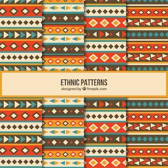 Acht niedliche ethnische muster