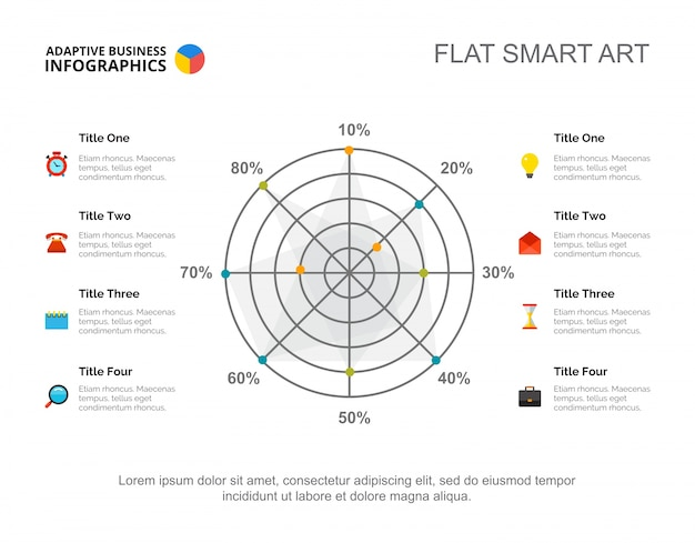 Acht options-radar-diagramm-dia-schablone