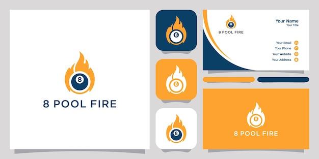 Acht pool feuer logo und visitenkarte