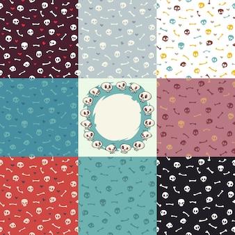 Acht varianten von halloween seamless pattern