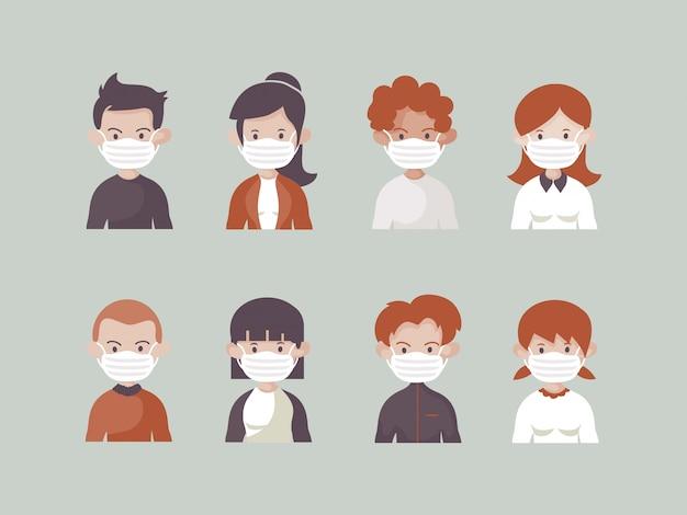 Acht verschiedene charaktere benutzen eine medizinische maske