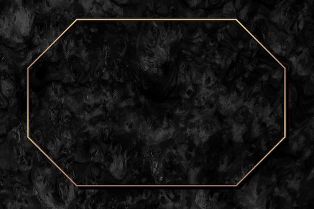 Achteckiger goldrahmen auf schwarzem hintergrund