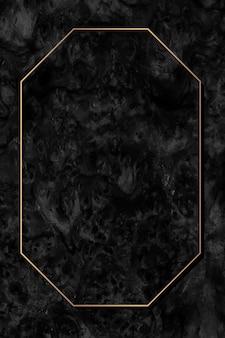 Achteckiger goldrahmen auf schwarzem hintergrundvektor