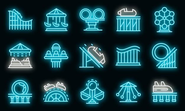 Achterbahn-icons gesetzt. umrisse von achterbahn-vektorsymbolen neonfarbe auf schwarz