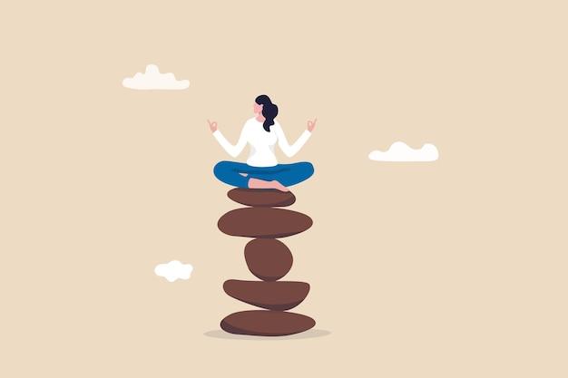 Achtsamkeitsmeditation zum ausgleich von arbeit und leben, heilung der psychischen gesundheit mit entspannendem yoga, freiheit, frieden und einsamkeit genießen, ruhige friedliche frau meditieren, die auf einem stapel der zen-felspyramide sitzt.