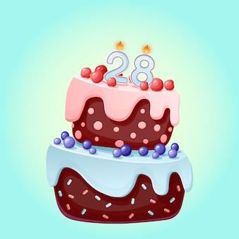 Achtundzwanzig jahre geburtstag niedlichen cartoon festlichen kuchen mit kerze nummer 28