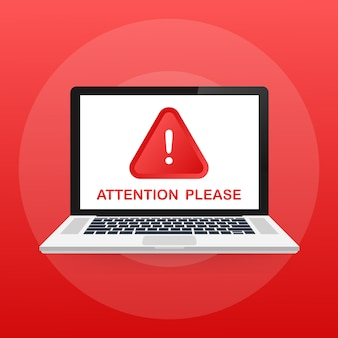 Achtung bitte nachricht auf laptop