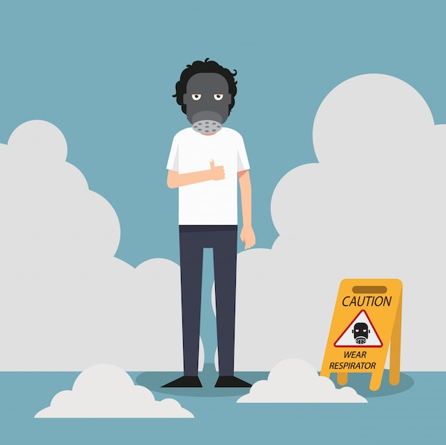 Achtung, warnschild mit atemschutzmaske tragen