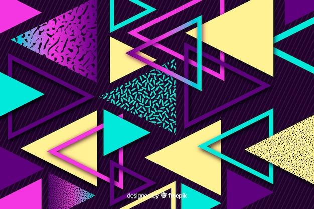 Achtzigerjahre geometrischer hintergrund mit dreiecken