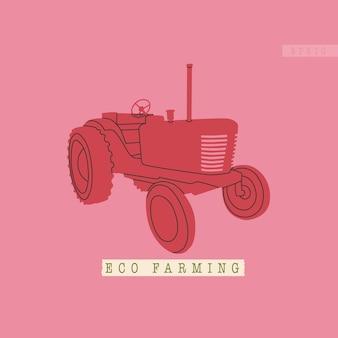 Ackerschlepper oder erntemaschine typische ausrüstung für öko-landwirtschaftskomplexe