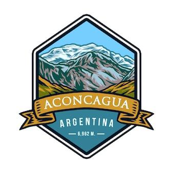 Aconcagua argentinien, hand gezeichnete linie mit digitaler farbe, vektorillustration