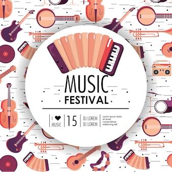 Acourdion und instrumente zum musikfestival