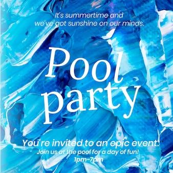Acrylfarbe party vorlage vektor blau abstrakte kreative kunst social media post