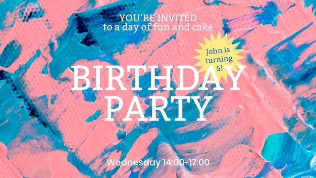 Acrylfarbe party vorlage vektor bunte ästhetische kreative kunst banner