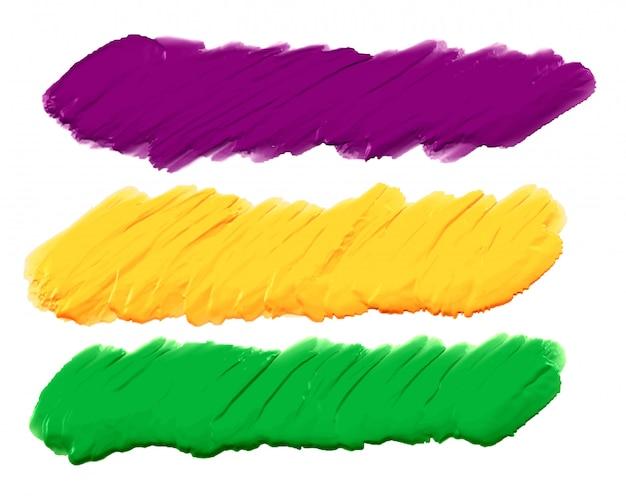 Acrylfarbe striche banner satz von drei