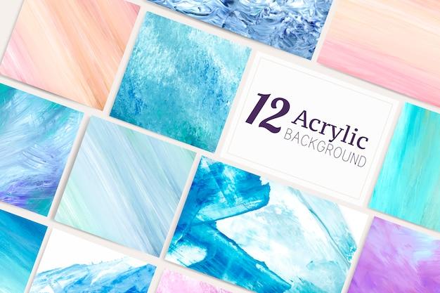 Acrylpinselanschlaghintergrund-vektorsatz