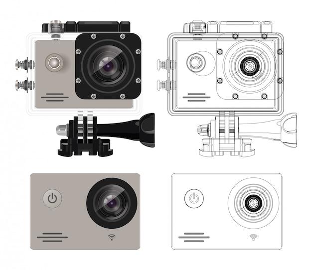 Action kamera in wasserdichter box. ausrüstung zum filmen von extremsportarten. actionkamera eingestellt. realistische vektorabbildung.