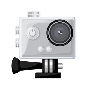Action-kamera in wasserdichter box. ausrüstung zum filmen von extremsportarten. realistische illustration lokalisiert auf dunkler hintergrundillustration