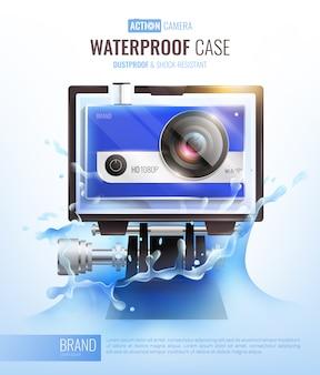 Action-kamera und unterwassergehäuse poster