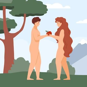 Adam und eva im paradies unter der flachen vektorillustration des baums lokalisiert