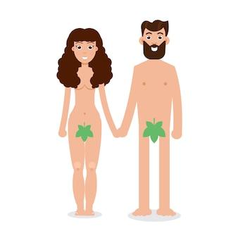 Adam und eva zeichentrickfigur im flachen stil.
