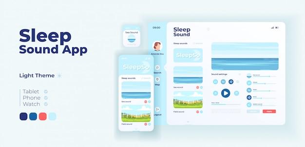 Adaptive designvorlage für den schlaf-sound-app-bildschirm. beruhigende musik und entspannende klänge anwendungslichtmodus-oberfläche mit flachen illustrationen. smartphone, tablet, smartwatch cartoon ui
