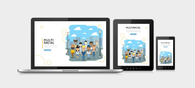 Adaptives designkonzept der flachen gemischtrassigen leute mit multiethnischen multikulturellen jungen und mädchen auf stadtbild