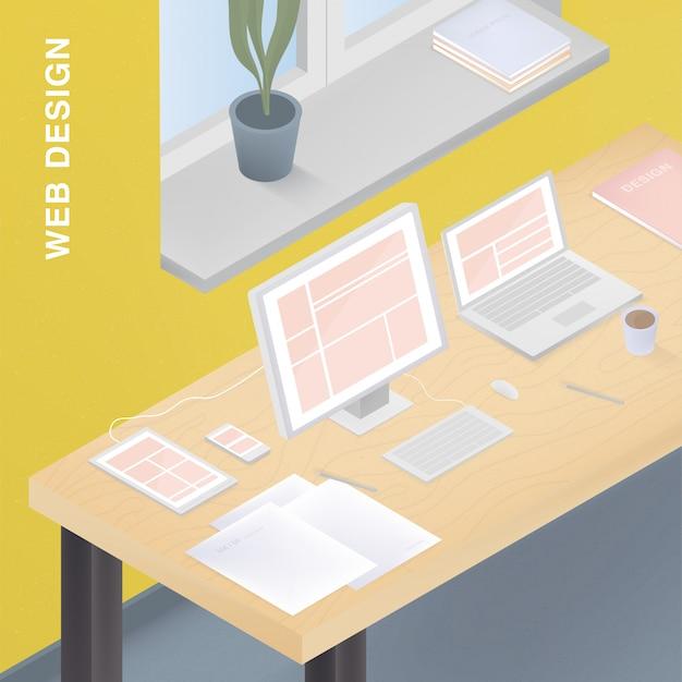 Adaptives webdesign für verschiedene geräte. bunte illustration mit ansprechendem design auf computer, tablet, smartphone, laptop.
