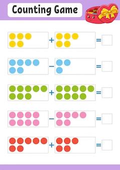 Addition und subtraktion. aufgabe für kinder. arbeitsblatt zur bildungsentwicklung. aktivitätsfarbseite.