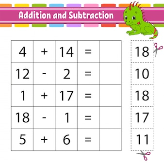 Addition und subtraktion. aufgabe für kinder. arbeitsblatt zur bildungsentwicklung. aktivitätsseite.