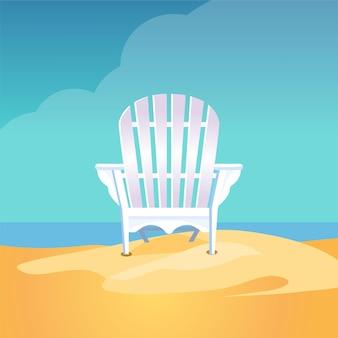 Adirondack stuhl auf dem meeresstrand, der auf dem gelben sand unter dem blauen bewölkten himmel steht,