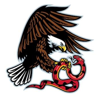 Adler, der gegen flache illustration der schlange kämpft