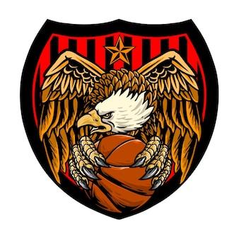 Adler halten einen basketballball für das logo des basketballclubs