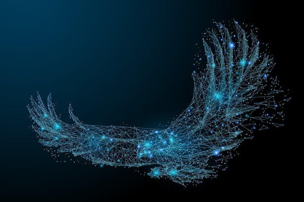Adler im flug von abstrakten polygonalen punkten blau low-poly-adler in bewegungslinien