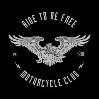 Adler maskottchen für biker abzeichen