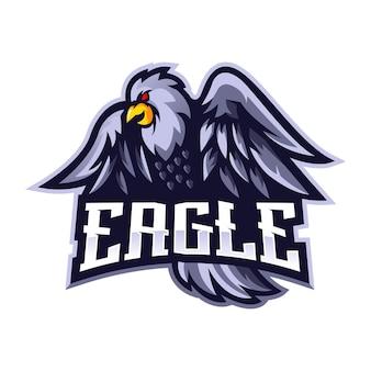 Adler maskottchen logo design vektor mit modernen illustration konzept stil für abzeichen, emblem und t-shirt druck. weißer adler für sportmannschaft