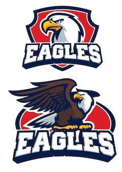 Adler maskottchen logo im set