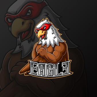 Adler maskottchen und sport logo design