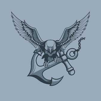 Adler mit anker in krallen