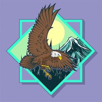 Adler mit quadratischem rahmen