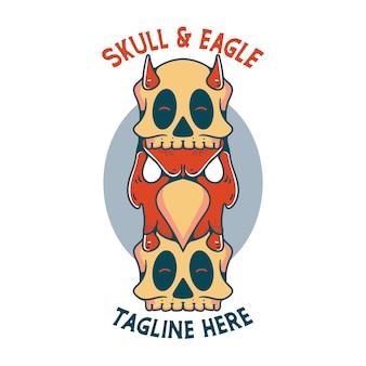 Adler mit schädel-illustrationscharakter-vintage-design für t-shirts