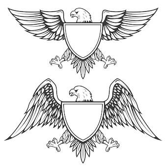 Adler mit schild lokalisiert auf weißem hintergrund. element für emblem, abzeichen. illustration.