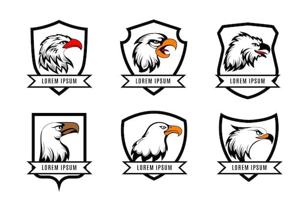 Adler- oder amerikanische falkenköpfe mit schildabzeichenschablonen. satz des logos mit schild und adler